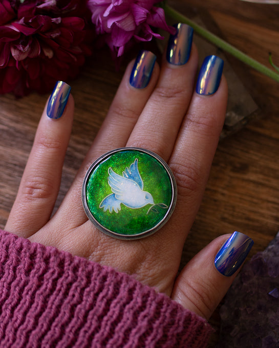 Dove of Peace ~  Cloisonne enamel ~ Ring or Necklace ~ Hope collection