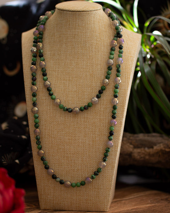 Deep Romantic Strand • Titantium-plated Agate and Ruby Zoisite • Xanadu collection