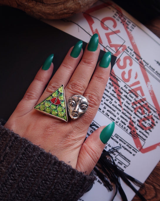 They Live Among Us~ Size 8-9 US split-ring ~ High Strangeness collection