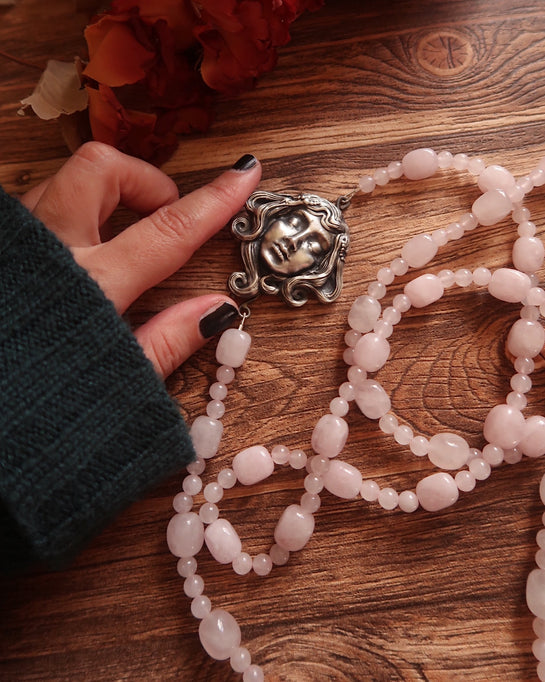 Graveyard Angel  ~ Multiway rose quartz beaded necklace with Sterling Focal