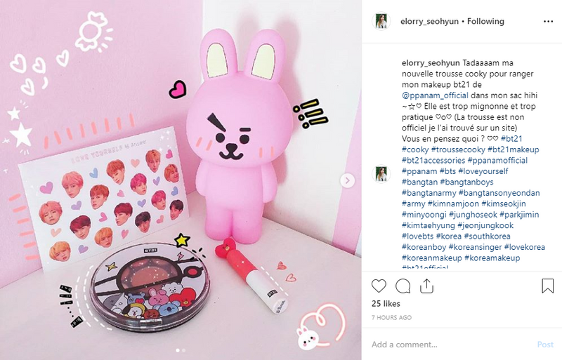La blogueuse Elorry Seohyun review les produits COOKY de la collaboration BT21 x VT