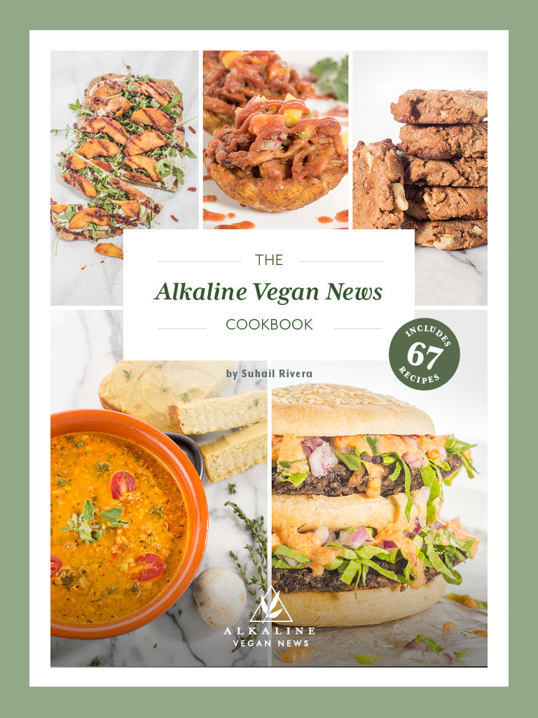 The Alkaline Vegan Cookbook Cover with images of select recipes