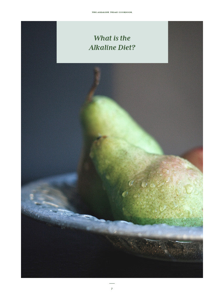 The Alkaline Vegan Cookbook Chapter Intro, What is the Alkaline Diet with picture of pears