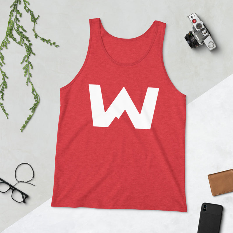 Wafloy Mountain Village White Logo Unisex Tank Top