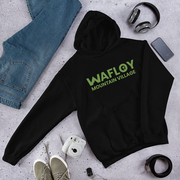 Green Wafloy Mountain Village Printed Unisex Hoodie