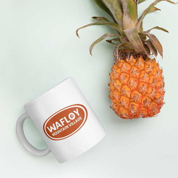 Wafloy Mountain Village Orange Logo Printed Mug