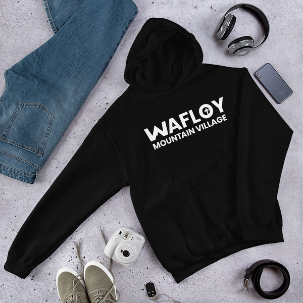 White Wafloy Mountain Village Printed Unisex Hoodie