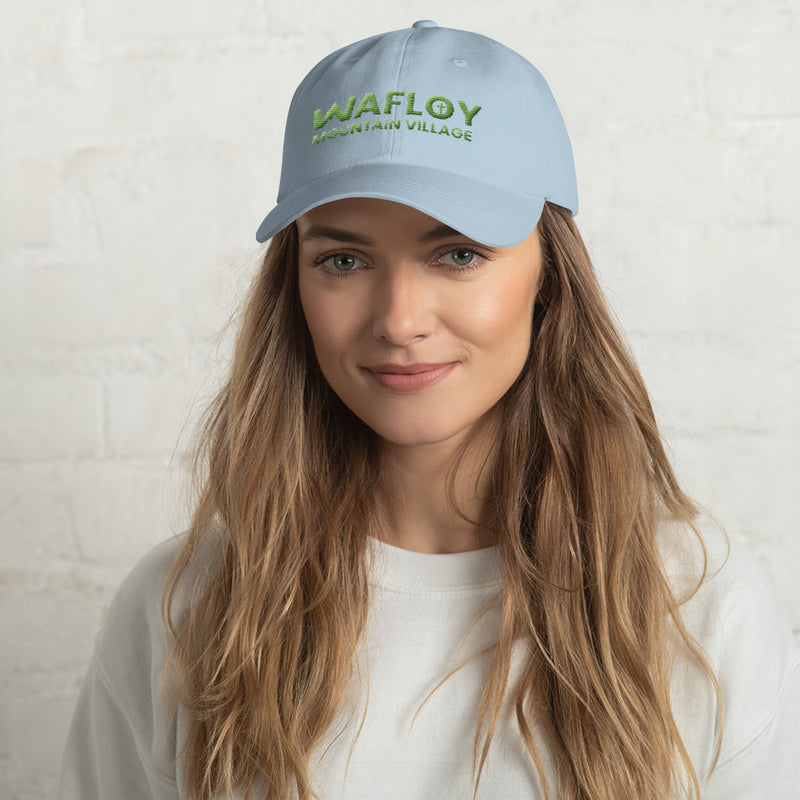 Wafloy Mountain Village Green Logo Embroidered Hat