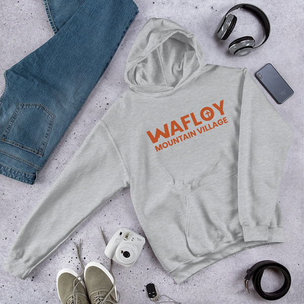 Orange Wafloy Mountain Village Printed Unisex Hoodie
