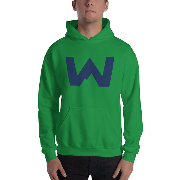 Blue Wafloy Mountain Village Logo Printed Unisex Hoodie