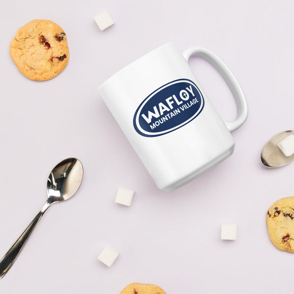Wafloy Mountain Village Blue Logo Printed Mug