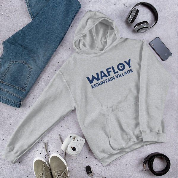 Blue Wafloy Mountain Village Printed Unisex Hoodie