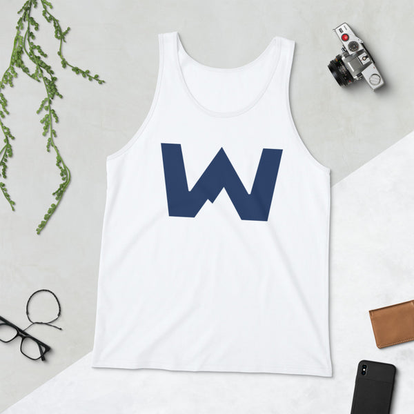 Wafloy Mountain Village Blue Logo Unisex Tank Top