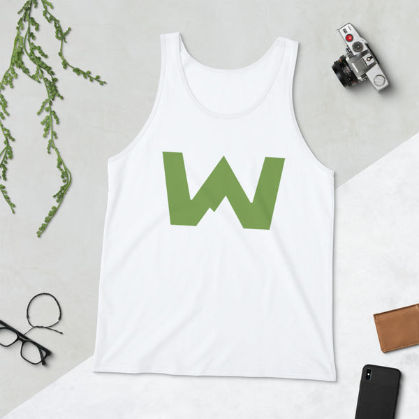Wafloy Mountain Village Green Logo Unisex Tank Top