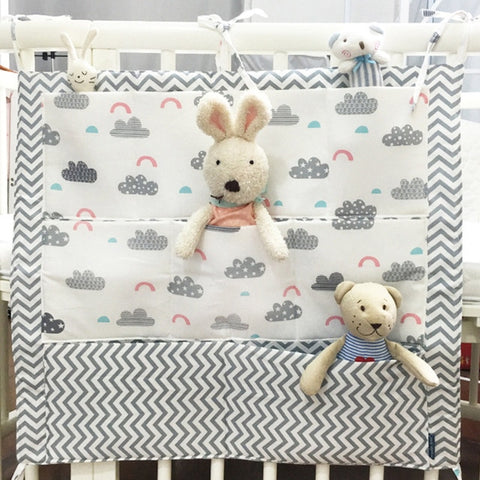 Image of Baby Hanging Storage Bag Baby Cotton Crib Organizer Newborn Toy Diaper Pocket for Crib Bedding Set Baby Bed Accessories PJ-006