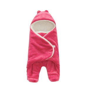 Baby Sleeping Bag 68*80cm Coral Fleece baby swaddle blanket Winter Footmuff Saco Bebe Cochecito Dormir Sac De Couchage Enfant