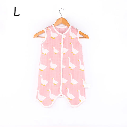 Image of Baby Sleeping Bag For Summer Soft Breathable Pure Cotton Muslin Sleep Sack For Children Cute Animal Pattern Sleepsack For Kids