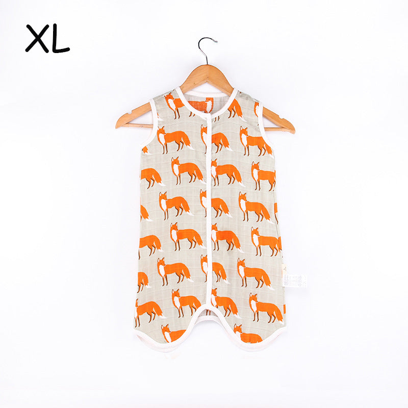 Baby Sleeping Bag For Summer Soft Breathable Pure Cotton Muslin Sleep Sack For Children Cute Animal Pattern Sleepsack For Kids