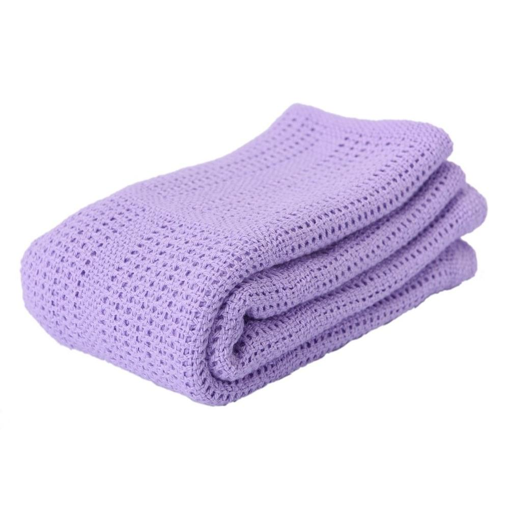 Niuniu Daddy Cotton Crochet Newborn Baby Blankets Cellular Blanket Summer Candy Color Casual Sleeping Bed Supplies Hole Wrap