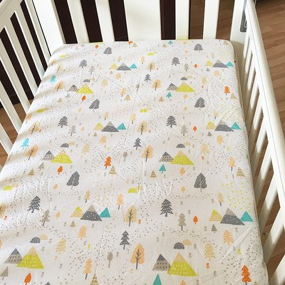 baby bed sheet 100% Cotton Crib Fitted Sheet Soft Baby Bed Mattress Cover Protector Cartoon Newborn Bedding Cot Size 130*70cm