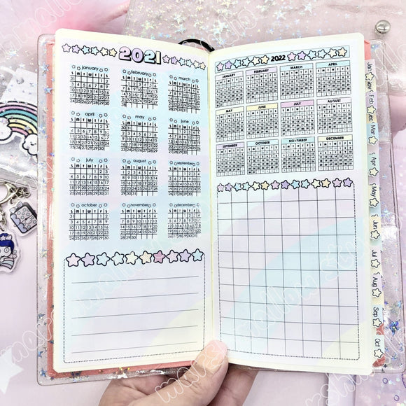 2021 YEAR AT A GLANCE - HOBO/ PP WEEKS - PLANNER STICKERS - S709 (PGS 1&2) - Marshmallow Studio