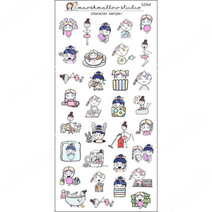 ALL THE CHARACTERS! - LARGE SAMPLER - PLANNER STICKERS - S594 - Marshmallow Studio