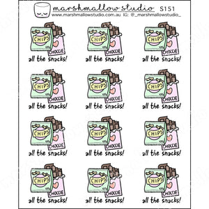 ALL THE SNACKS! - PLANNER STICKERS - S151 - Marshmallow Studio