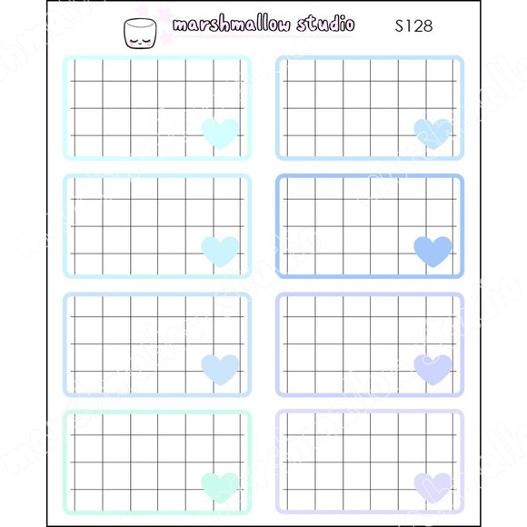 BLUE GRID BOXES - BASICS - PLANNER STICKERS - S128 - Marshmallow Studio