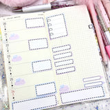 BOTANICAL - STITCHED FUNCTIONAL BOXES - PLANNER STICKERS - S699 - Marshmallow Studio