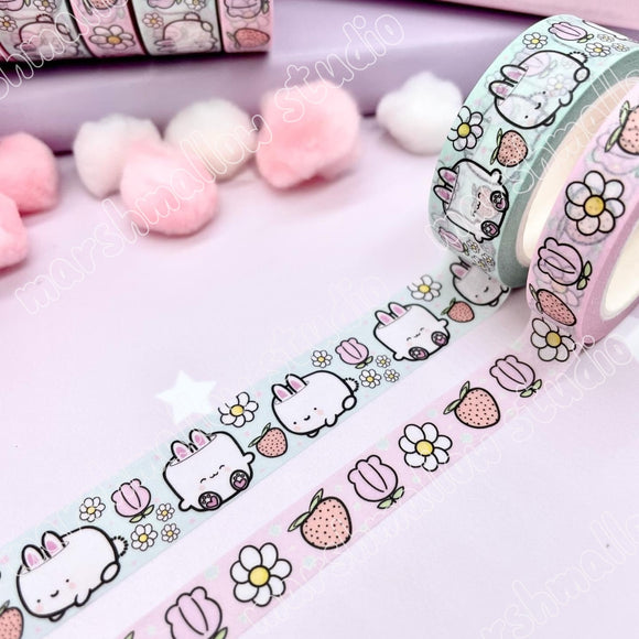 🍓🐰*BUNDLE* - STRAWBERRY FIELDS (COCOA BUNNY) - WASHI TAPE - LIMITED EDITION - Marshmallow Studio
