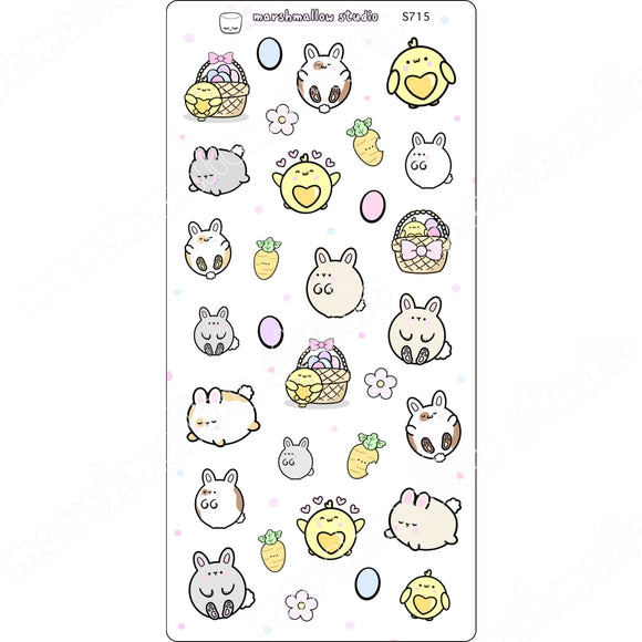 BUNNIES & CHICKS - LARGE SAMPLER - PLANNER STICKERS - S715 - Marshmallow Studio