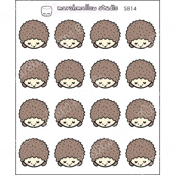CHUBBY HEDGEHOG - PLANNER STICKERS - S814 - Marshmallow Studio