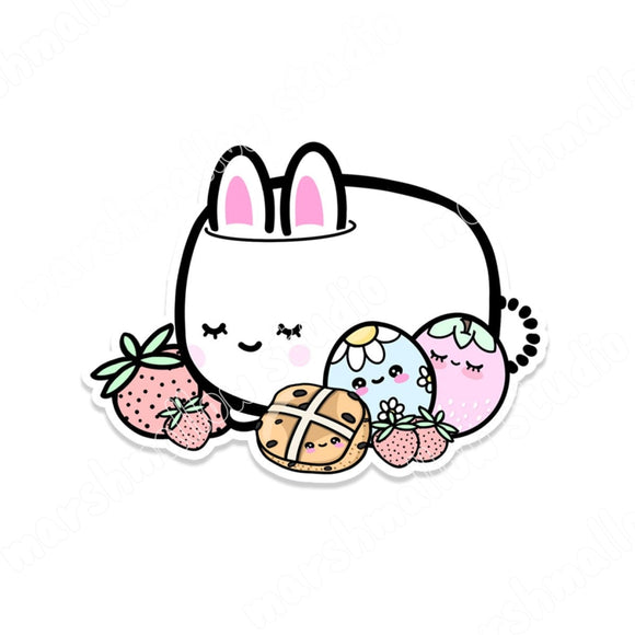 COCOA BUNNY AND EASTER - STICKER FLAKE - F120 - Marshmallow Studio
