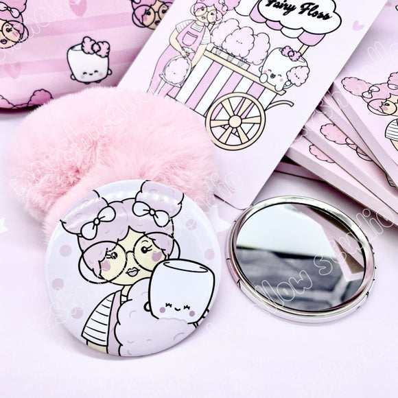 COMPACT MIRROR ~ FAIRY FLOSS ~ TICKLEDPINKPLANNING COLLAB ~ LIMITED EDITION - Marshmallow Studio