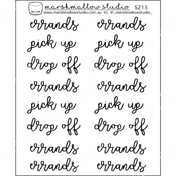CURLY SCRIPT - ERRANDS / PICK UP / DROP OFF - PLANNER STICKERS - S215 - Marshmallow Studio