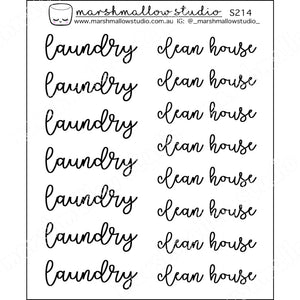 CURLY SCRIPT - LAUNDRY / CLEAN HOUSE - PLANNER STICKERS - S214 - Marshmallow Studio