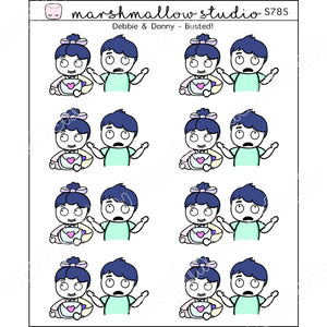 DEBBIE & DONNY - BUSTED - PLANNER STICKERS - S785 - Marshmallow Studio