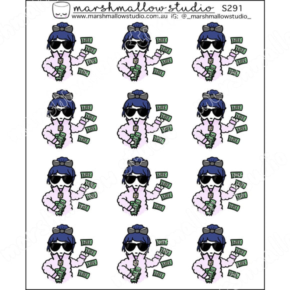 DEBBIE DOWNER - DISHES THE DOLLARS - PLANNER STICKERS S291 - Marshmallow Studio