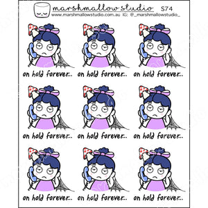 DEBBIE DOWNER - ON HOLD FOREVER - PLANNER STICKERS - S74 - Marshmallow Studio