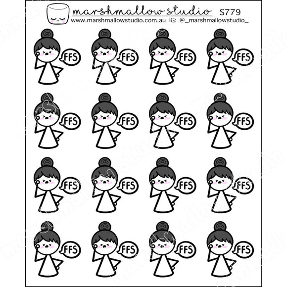 DOODLE GIRL - FFS - PLANNER STICKERS - S779 - Marshmallow Studio