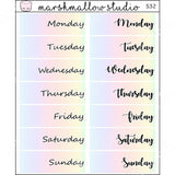 EC DATE COVERS - RAINBOW DAYS - PLANNER STICKERS S32 - Marshmallow Studio
