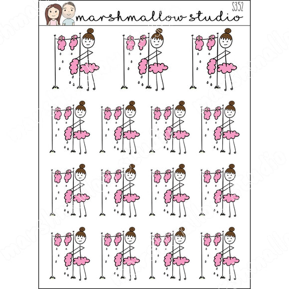 FLOSSIE HANGS WASHING - PLANNER STICKERS S352 - Marshmallow Studio