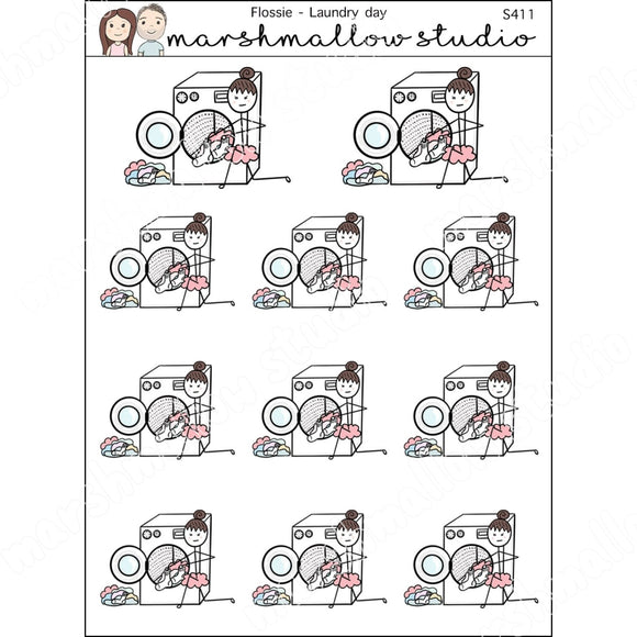 FLOSSIE - LAUNDRY DAY - PLANNER STICKERS - S411 - Marshmallow Studio