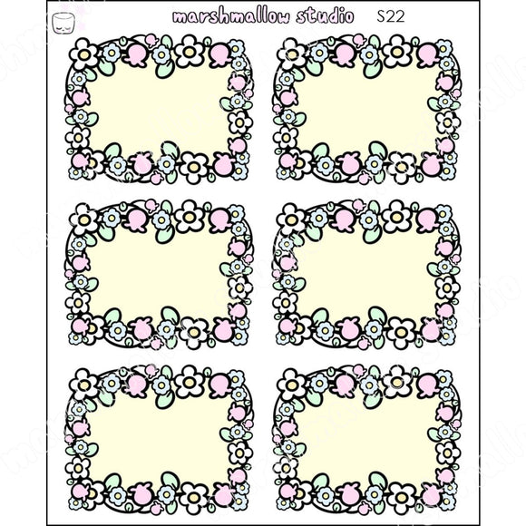 Flower Frame Half Box - Planner Stickers S22 New Releases