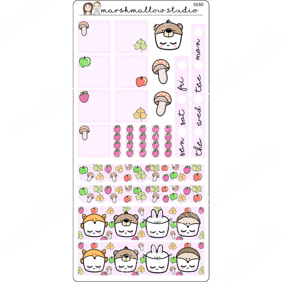 FOREST FRIENDS - HOBONICHI WEEKS KIT - PLANNER STICKERS - S686 - Marshmallow Studio