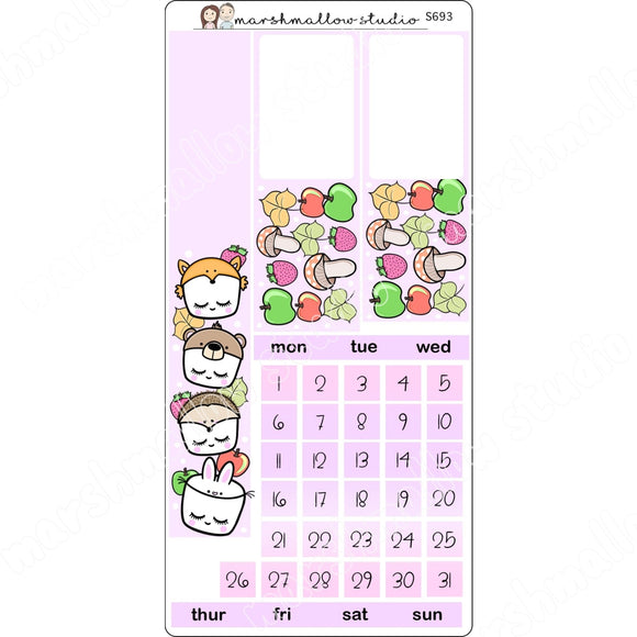 FOREST FRIENDS - MONTHLY HOBONICHI WEEKS KIT - PLANNER STICKERS - S693 - Marshmallow Studio