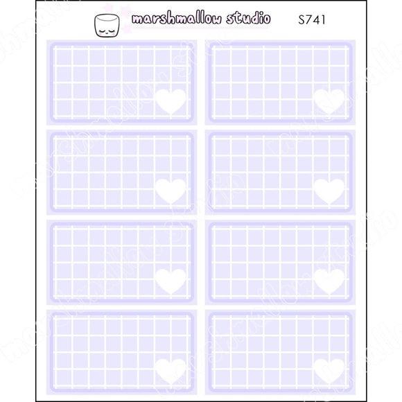 FULL INDIGO GRID BOXES - BASICS - PLANNER STICKERS - S741 - Marshmallow Studio