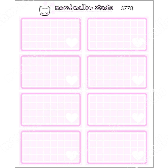 FULL PINK GRID BOXES - BASICS - PLANNER STICKERS - S778 - Marshmallow Studio