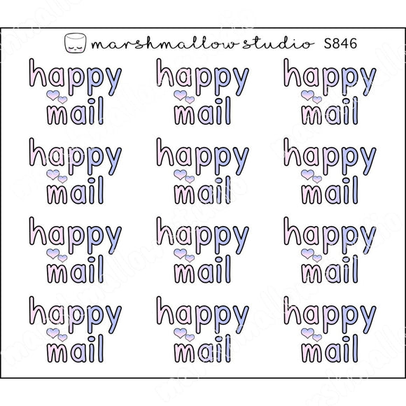 HAPPY MAIL SCRIPT - PINK & DUSK BLUE - PLANNER STICKERS - S846 - Marshmallow Studio