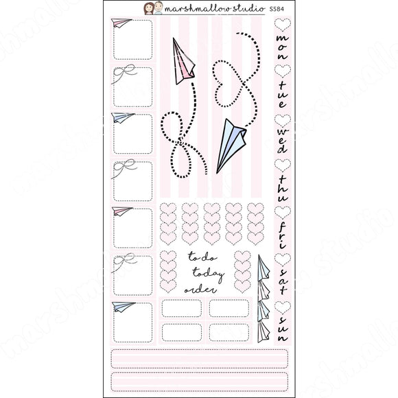 HOBONICHI KIT - PAPER PLANES - PLANNER STICKERS - S584 - Marshmallow Studio